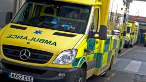 Ambulances parked at Poole Hospital