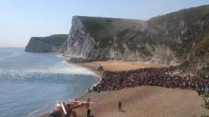 Rescue helicopters land at Durdle door