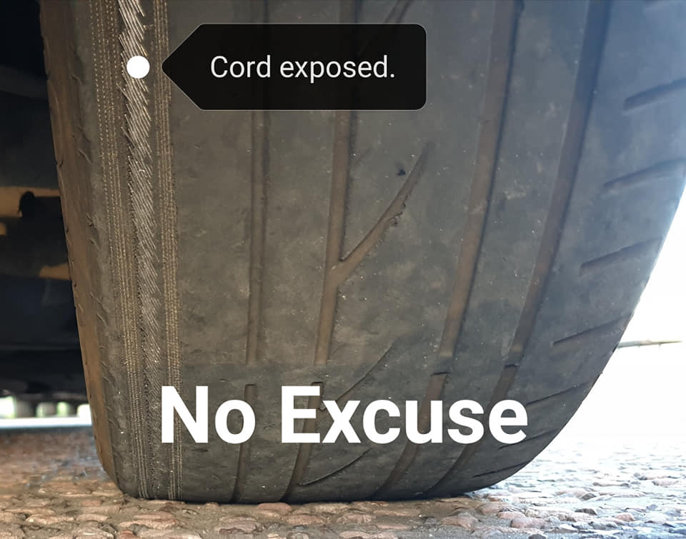 Tyre with cord showing stopped by police