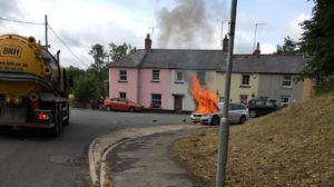 BMW 3 series fire in Maiden Newton